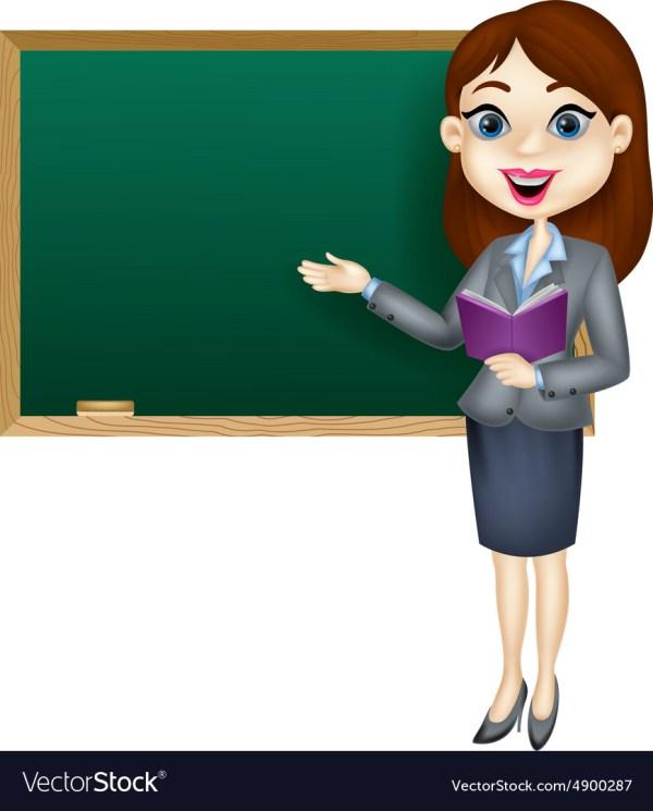 Cartoon Female Teacher Standing Blackboa