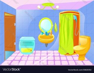 Bright cartoon bathroom interior Royalty Free Vector Image