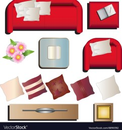 living room furniture top view set 10 for interior vector image [ 981 x 1080 Pixel ]