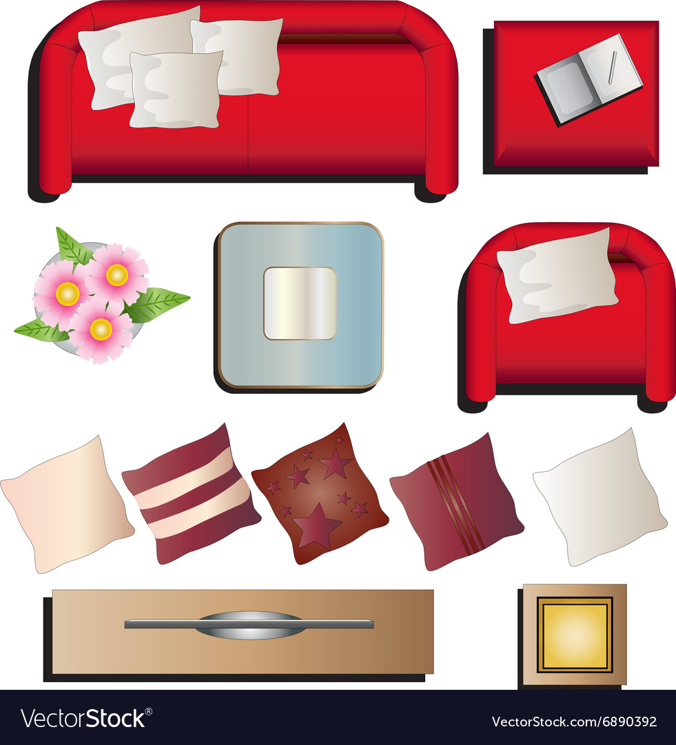 hight resolution of living room furniture top view set 10 for interior vector image