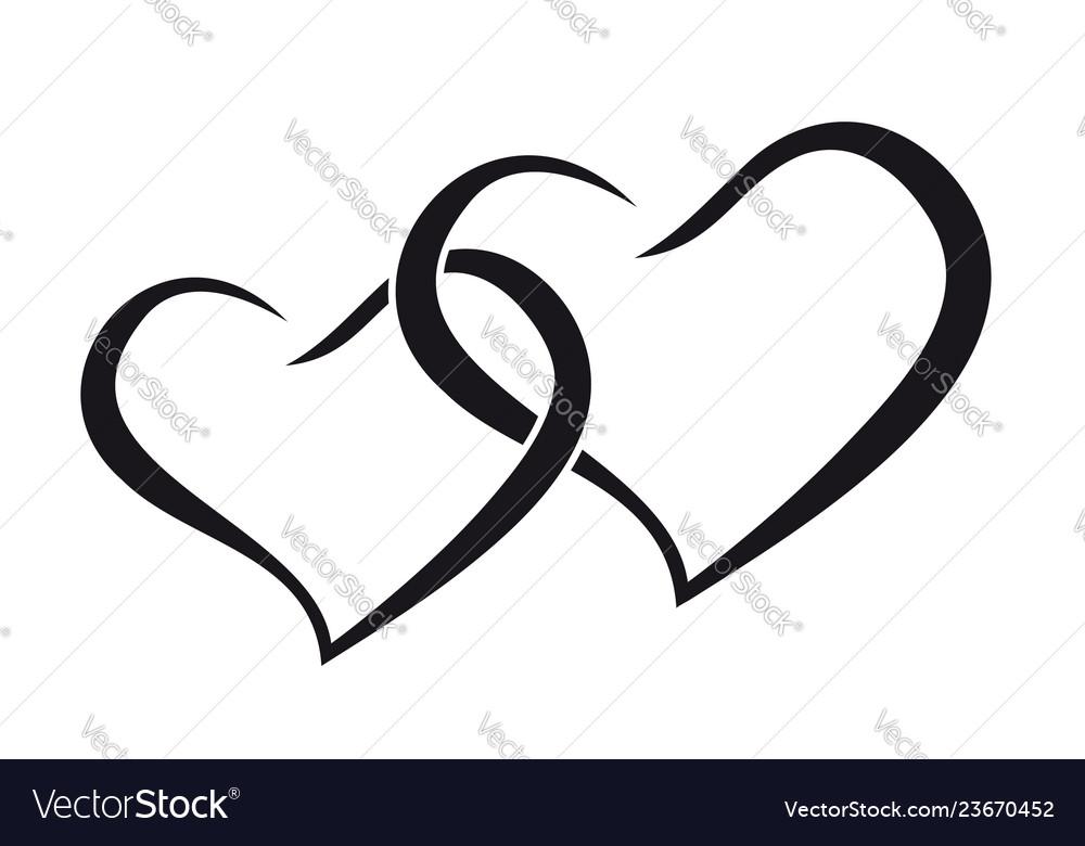 Download Couple hearts love forever together black Vector Image
