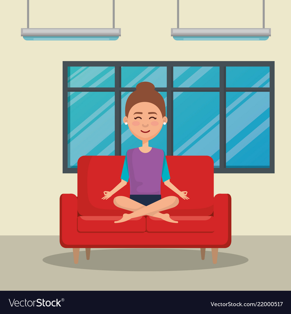 yoga sofa s peng sofascore young woman practicing in the royalty free vector image