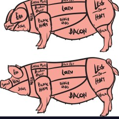 Pig Cuts Diagram One Way Light Switch Cut Of Meat Set Hand Drawn Pork Vector Image