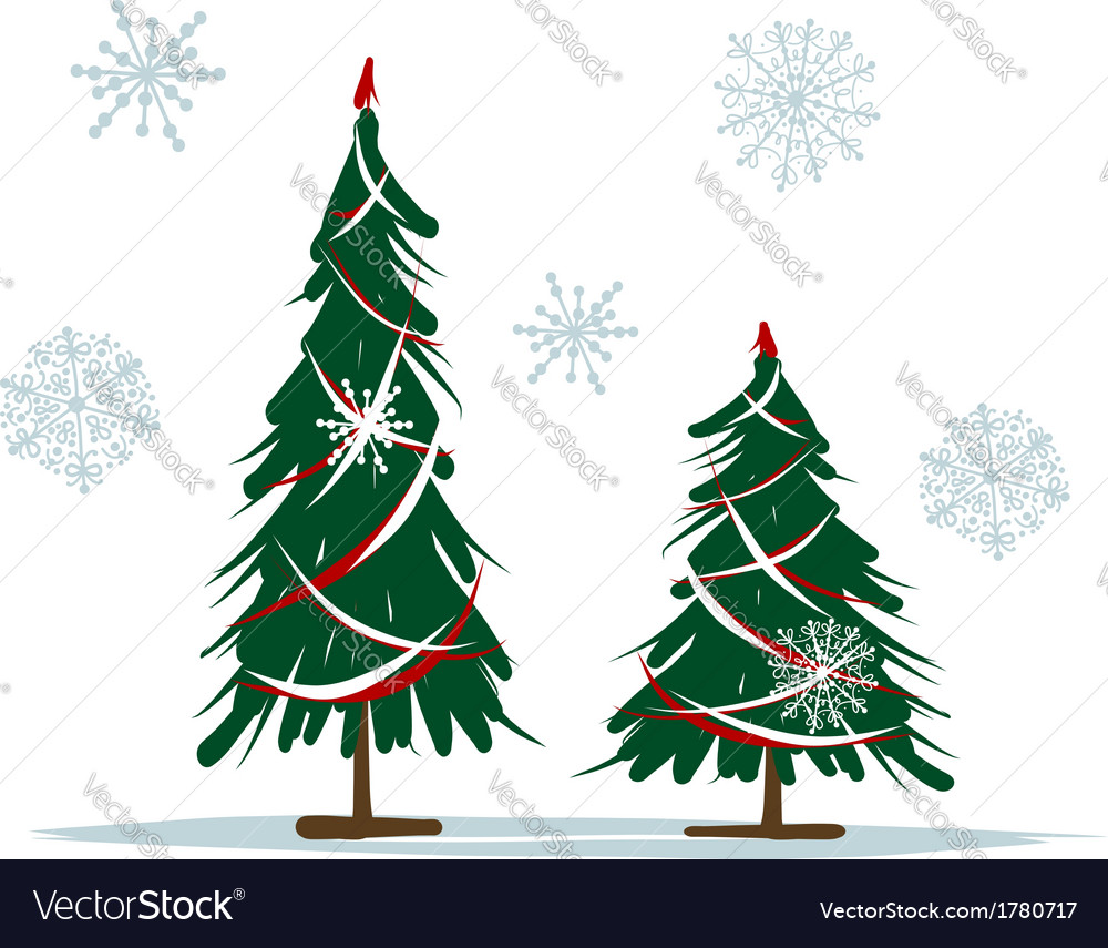 Big And Small Christmas Trees For Your Design Vector Image