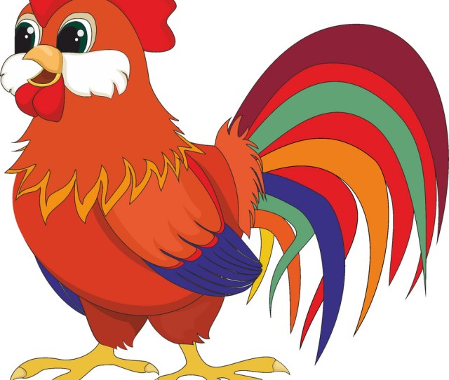 Cartoon Red Rooster Vector Image