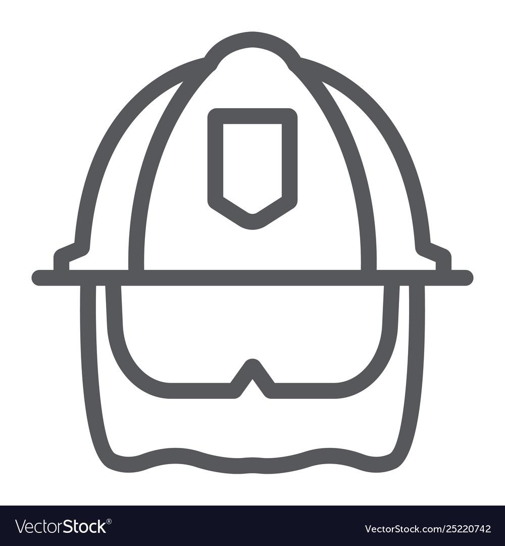 firefighter helmet line icon