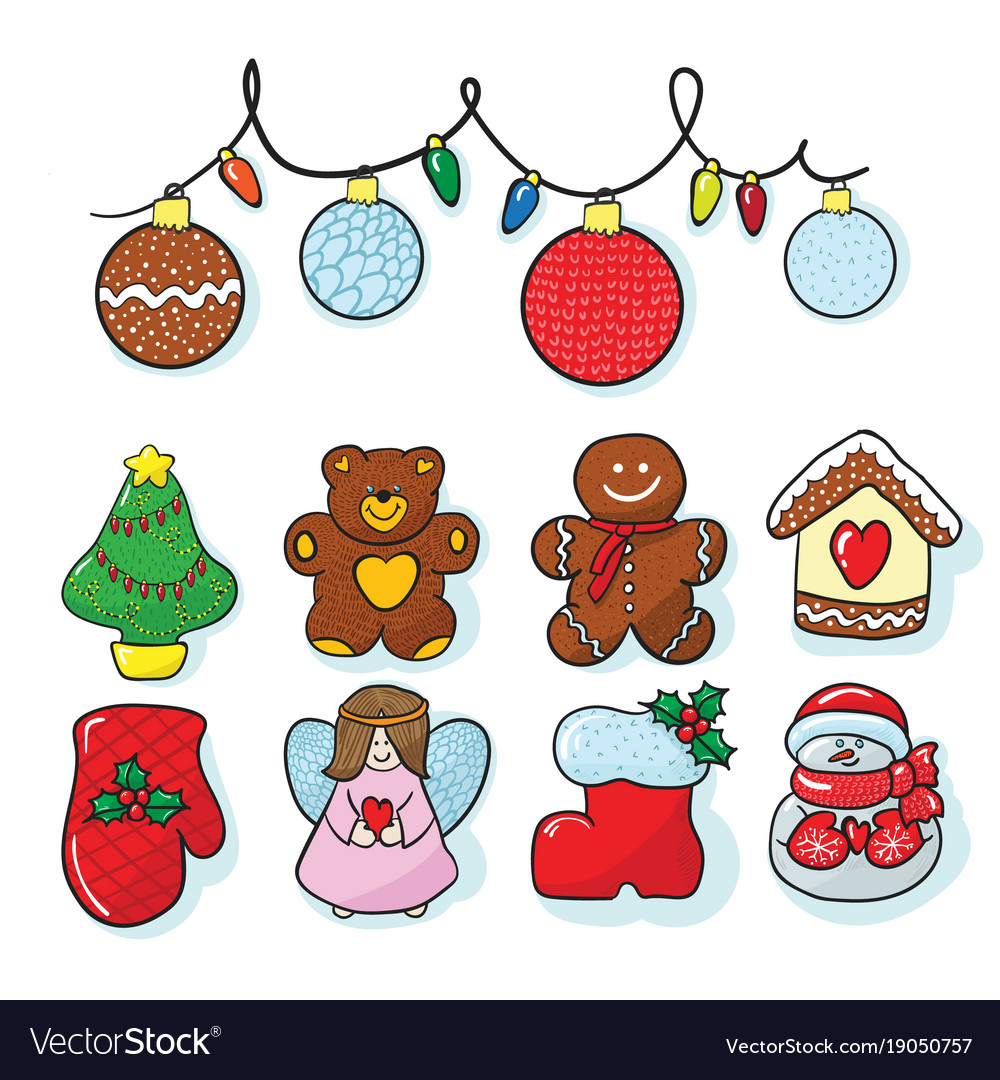 Set Of Christmas Decoration Hand Draw Royalty Free Vector