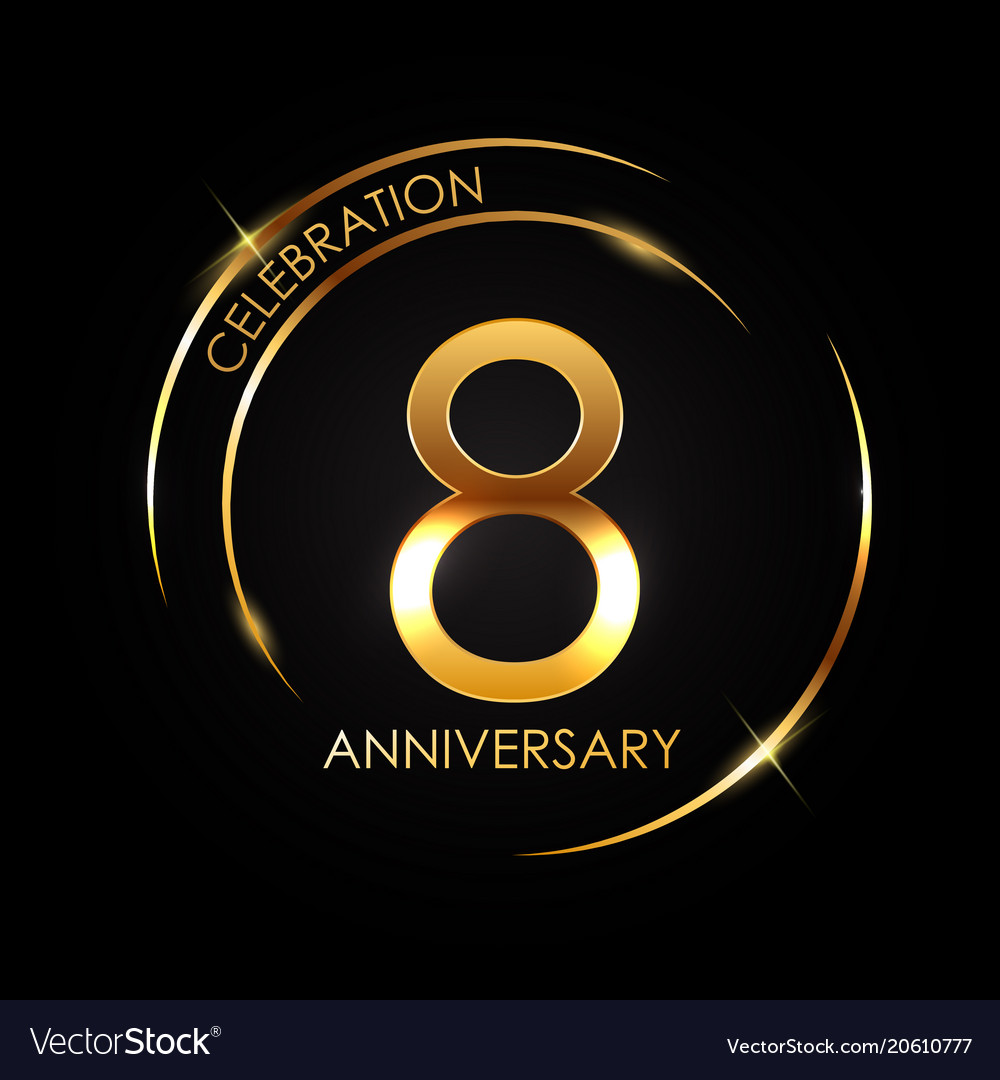 Template 8 years anniversary Royalty Free Vector Image
