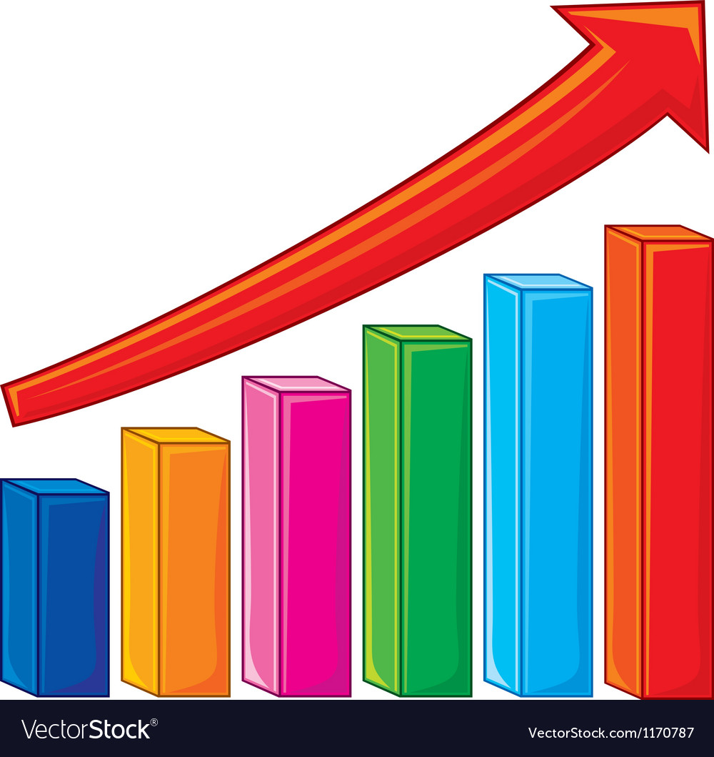 hight resolution of bar graph increase diagram vector image
