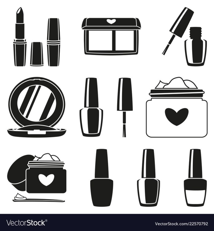11 Black And White Makeup Silhouette Elements Vector Image