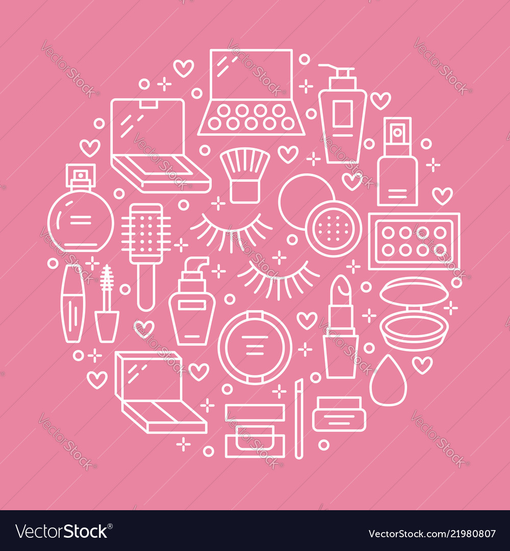 hight resolution of makeup beauty care pink circle poster concept with vector image