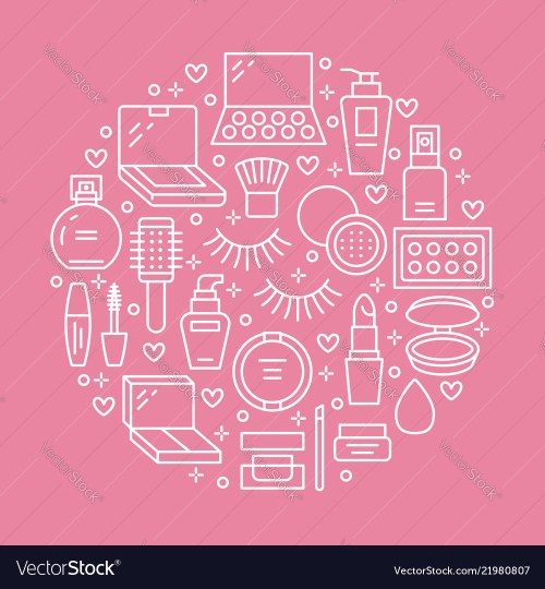 small resolution of makeup beauty care pink circle poster concept with vector image