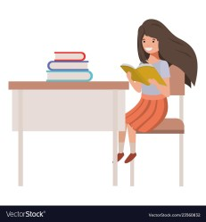 Young student girl sitting in school desk Vector Image