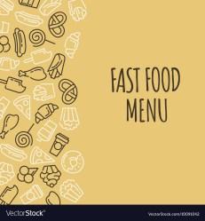menu background food fast cartoon vector