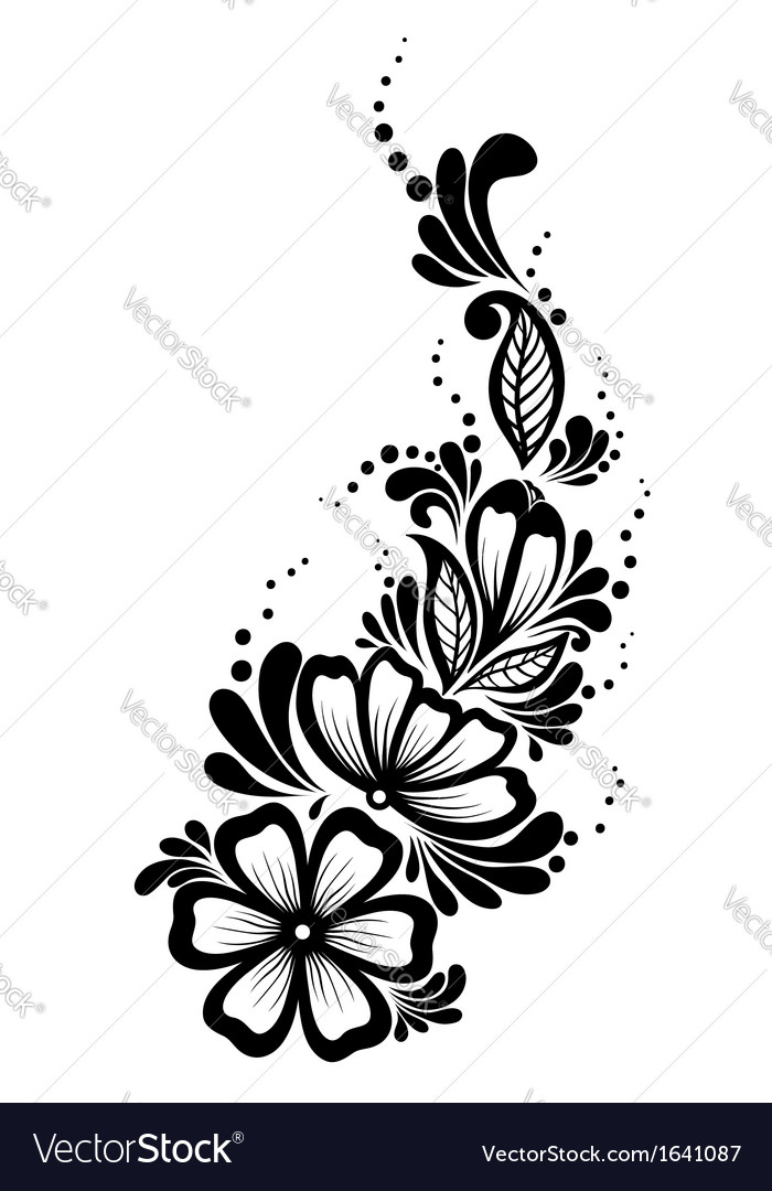 floral element black and