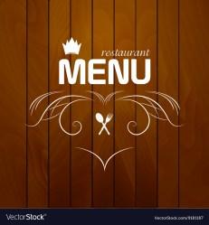 Restaurant menu on wood background Royalty Free Vector Image