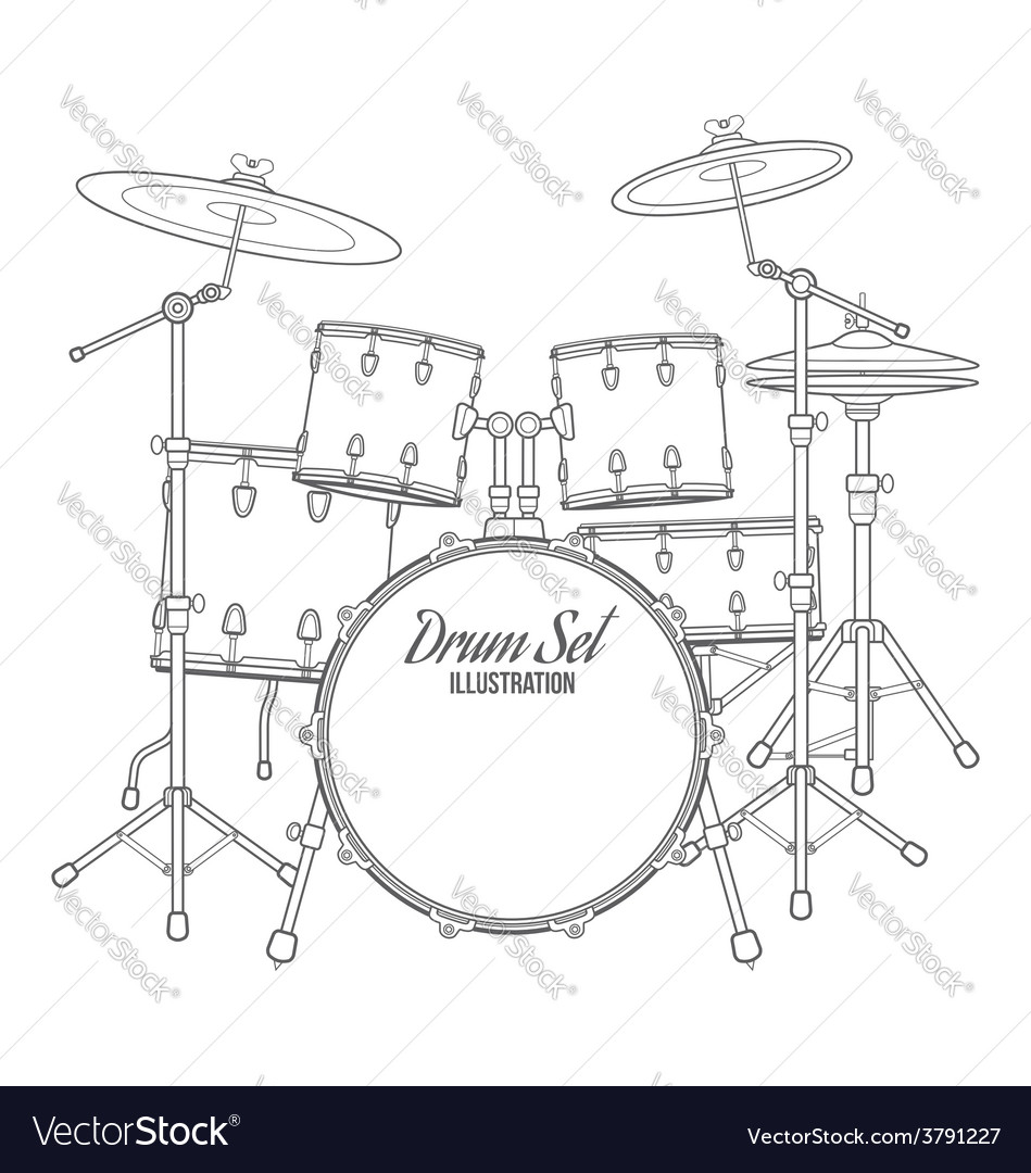 hight resolution of dark contour drum set technical vector image
