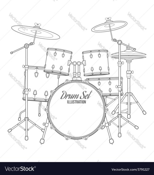 small resolution of dark contour drum set technical vector image