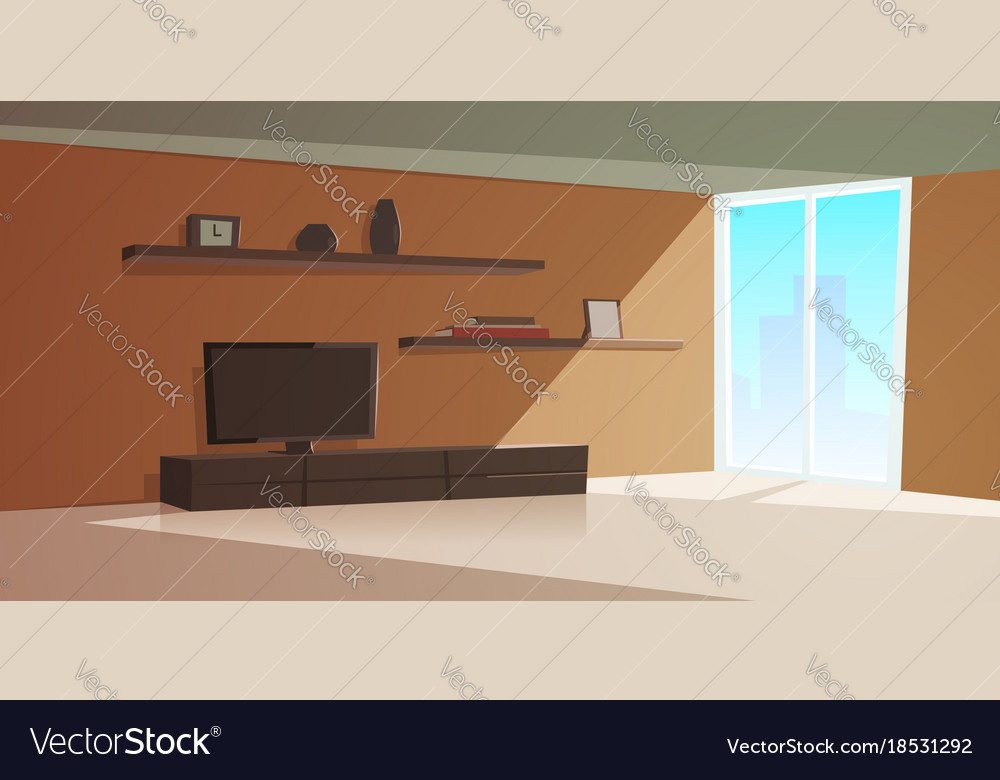Cartoon interior modern living room Royalty Free Vector