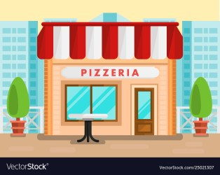 Pizzeria outdoor seating cartoon Royalty Free Vector Image