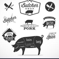Pork Butcher Cuts Diagram 4 Wire O2 Sensor Wiring And Butchery Design Elements Vector Image