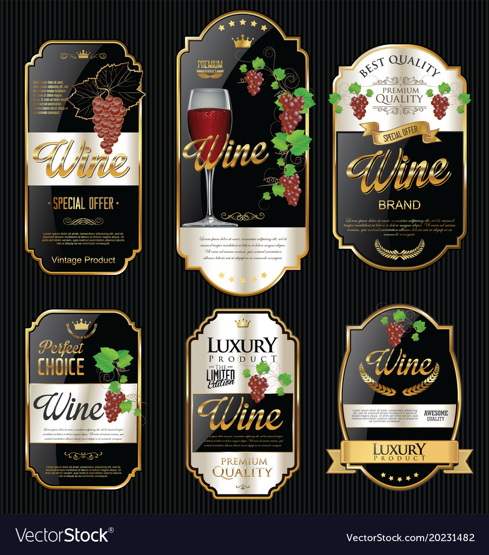 golden wine labels retro