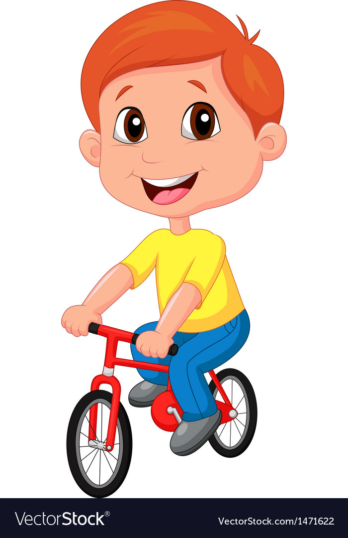 boy cartoon riding bicycle