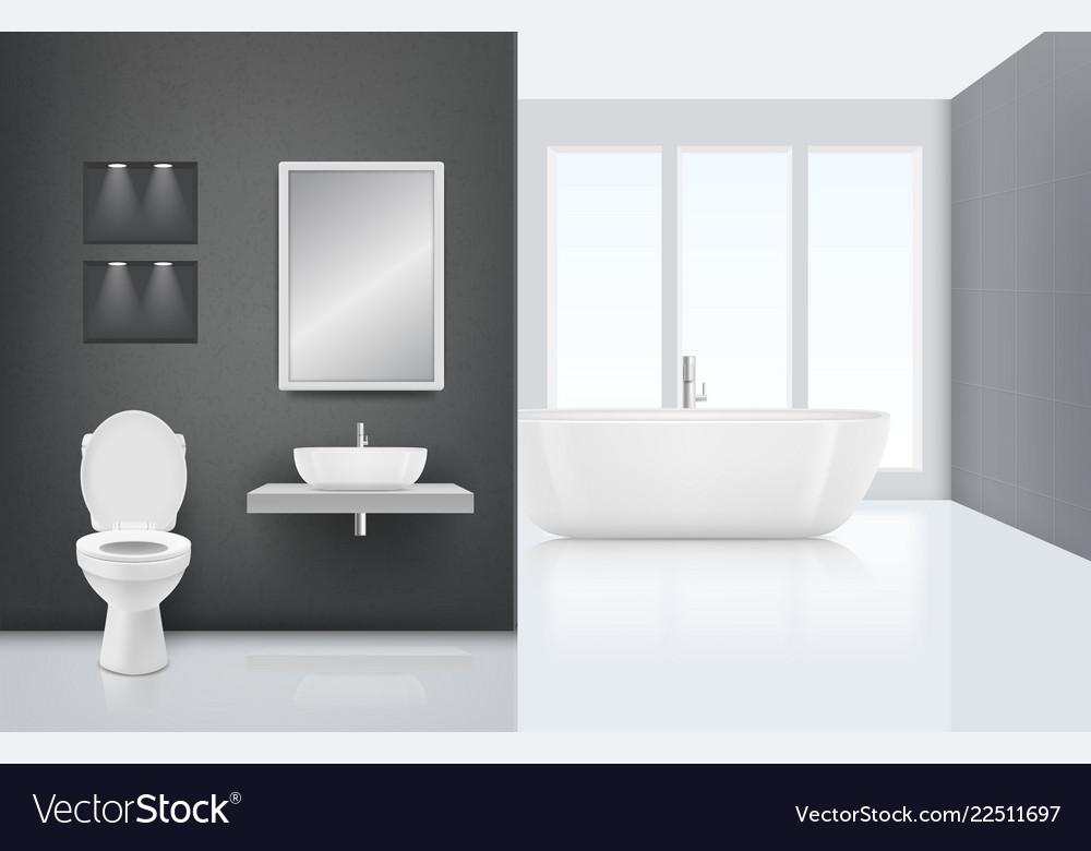 Modern Bathroom Interior Toilet Sink Washing Vector Image