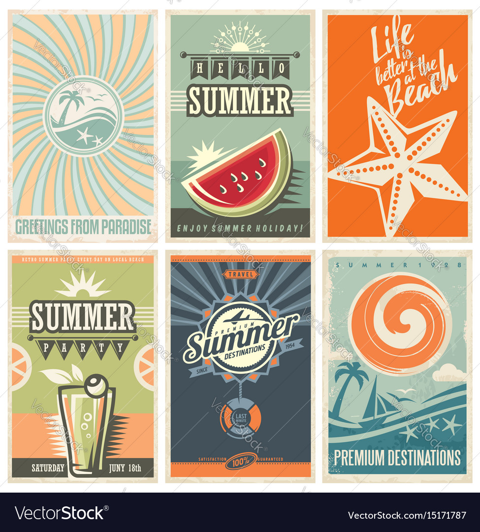 summer retro posters collection