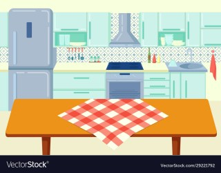 Cartoon wooden kitchen table with tablecloth at Vector Image