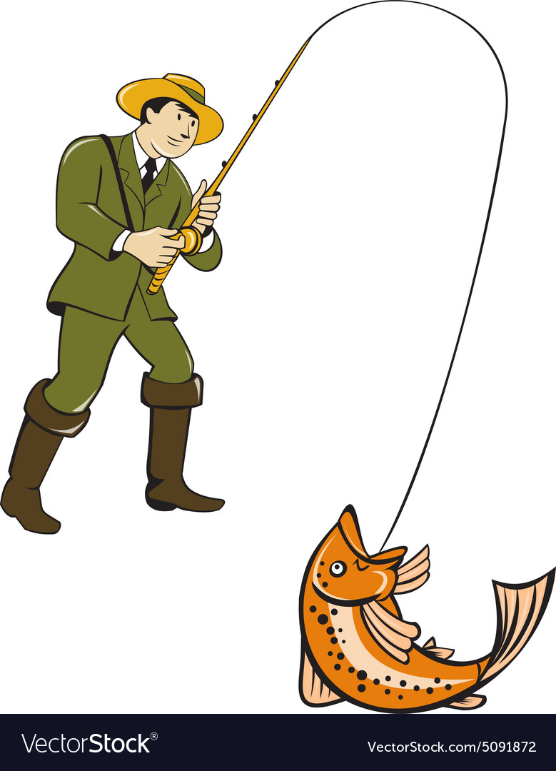 Fishing Pictures Cartoon : fishing, pictures, cartoon, Fisherman, Catching, Trout, Cartoon, Vector, Image
