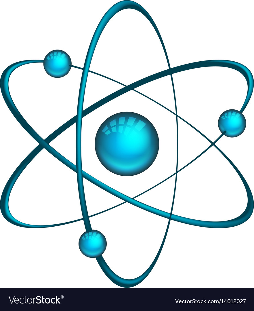 hight resolution of physics atom model with electrons vector image