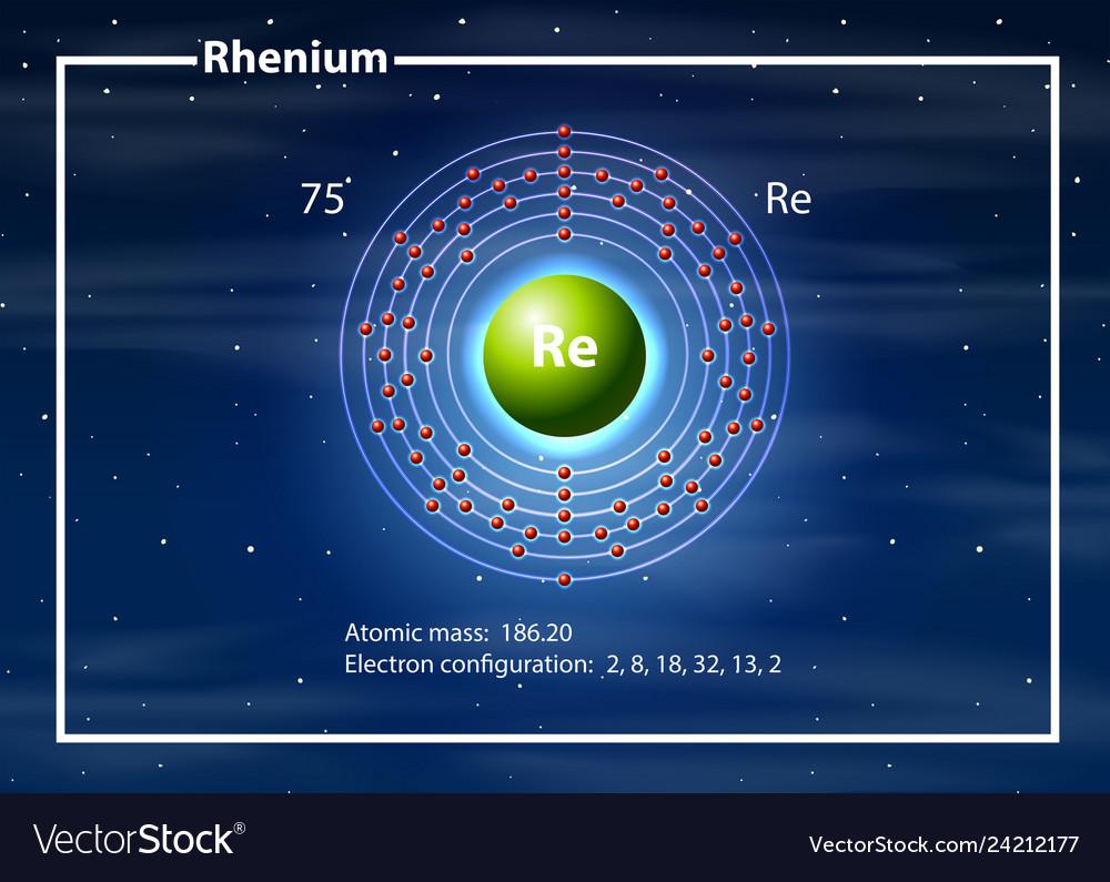 hight resolution of chemist atom of rhenium diagram vector image