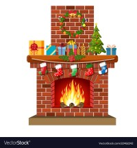 Christmas red brick classic fireplace Royalty Free Vector