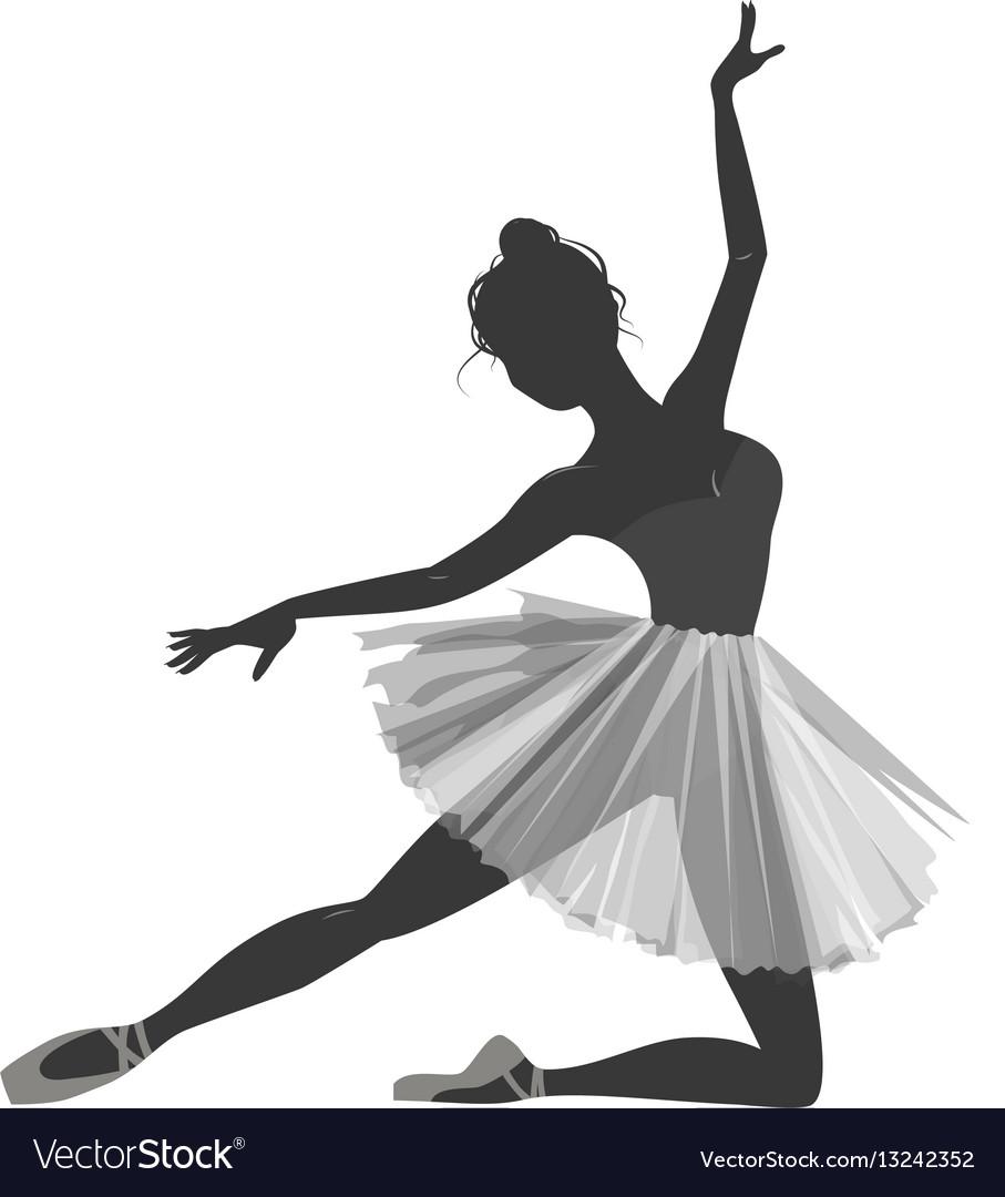 ballerina girl silhouette isolated