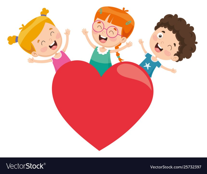 Kids playing around a heart Royalty Free Vector Image