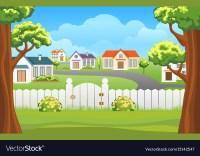Outdoor backyard background cartoon Royalty Free Vector