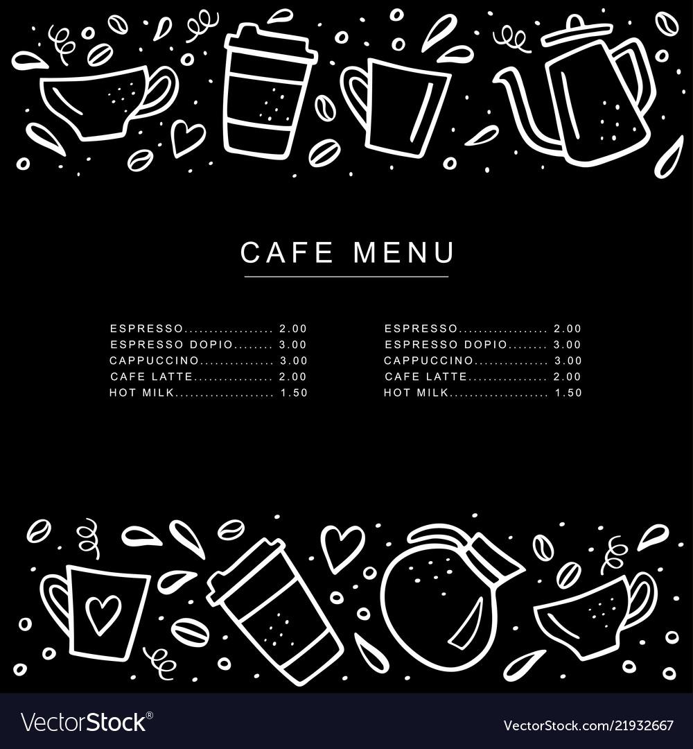 chalkboard cafe menu with