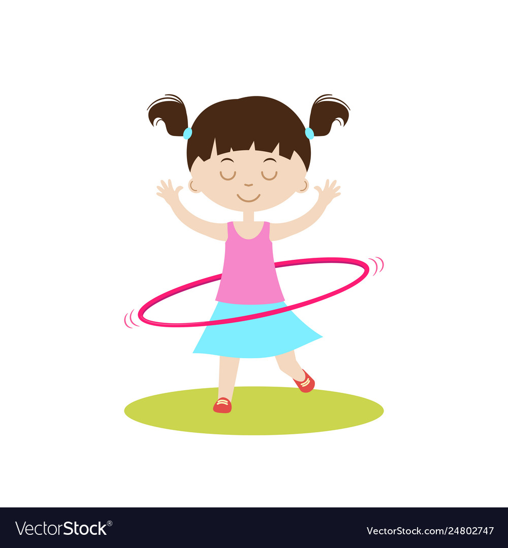 hight resolution of cute girl with hula hoop vector image