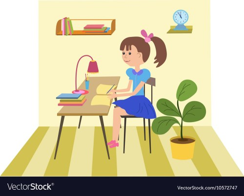 small resolution of girl doing school work vector image