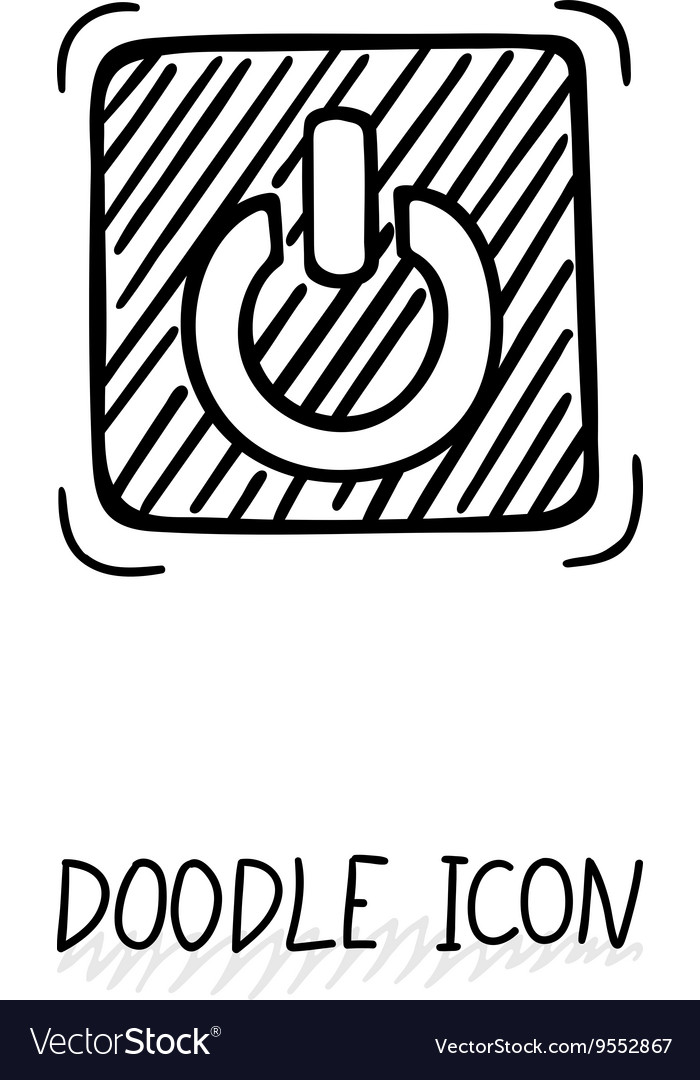 On Off Switch Circle Line : switch, circle, Doodle, Switch, Button, Close, Pictograph, Vector, Image