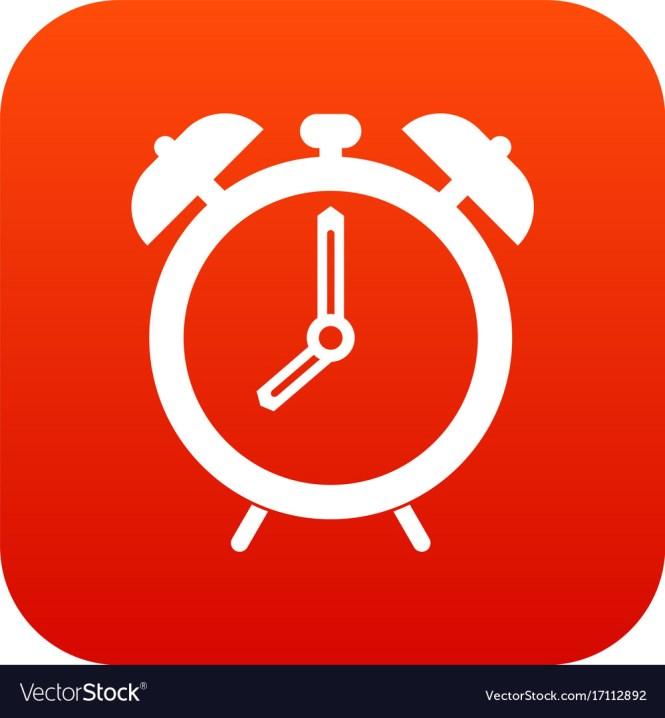 Alarm Clock Icon Digital Red Royalty