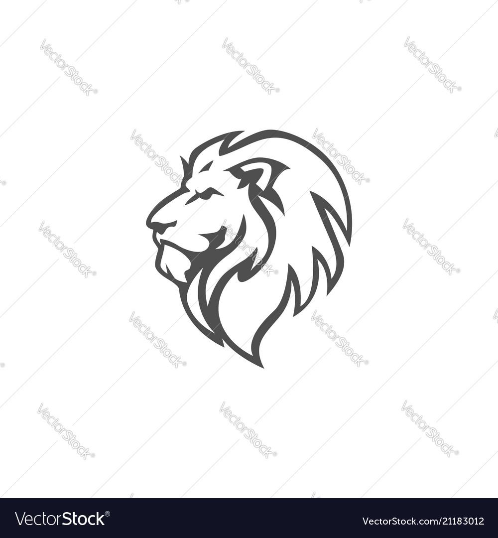 angry lion head black