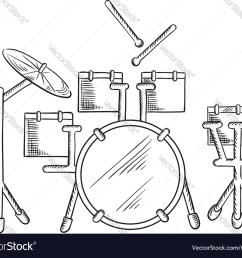 sketch of drum set with traditional kit vector image [ 1000 x 848 Pixel ]