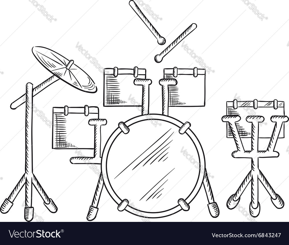 medium resolution of sketch of drum set with traditional kit vector image