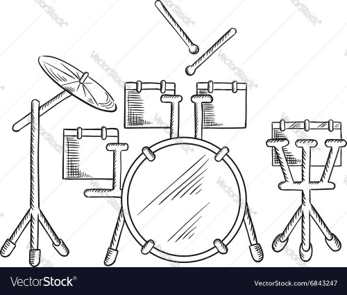 small resolution of sketch of drum set with traditional kit vector image
