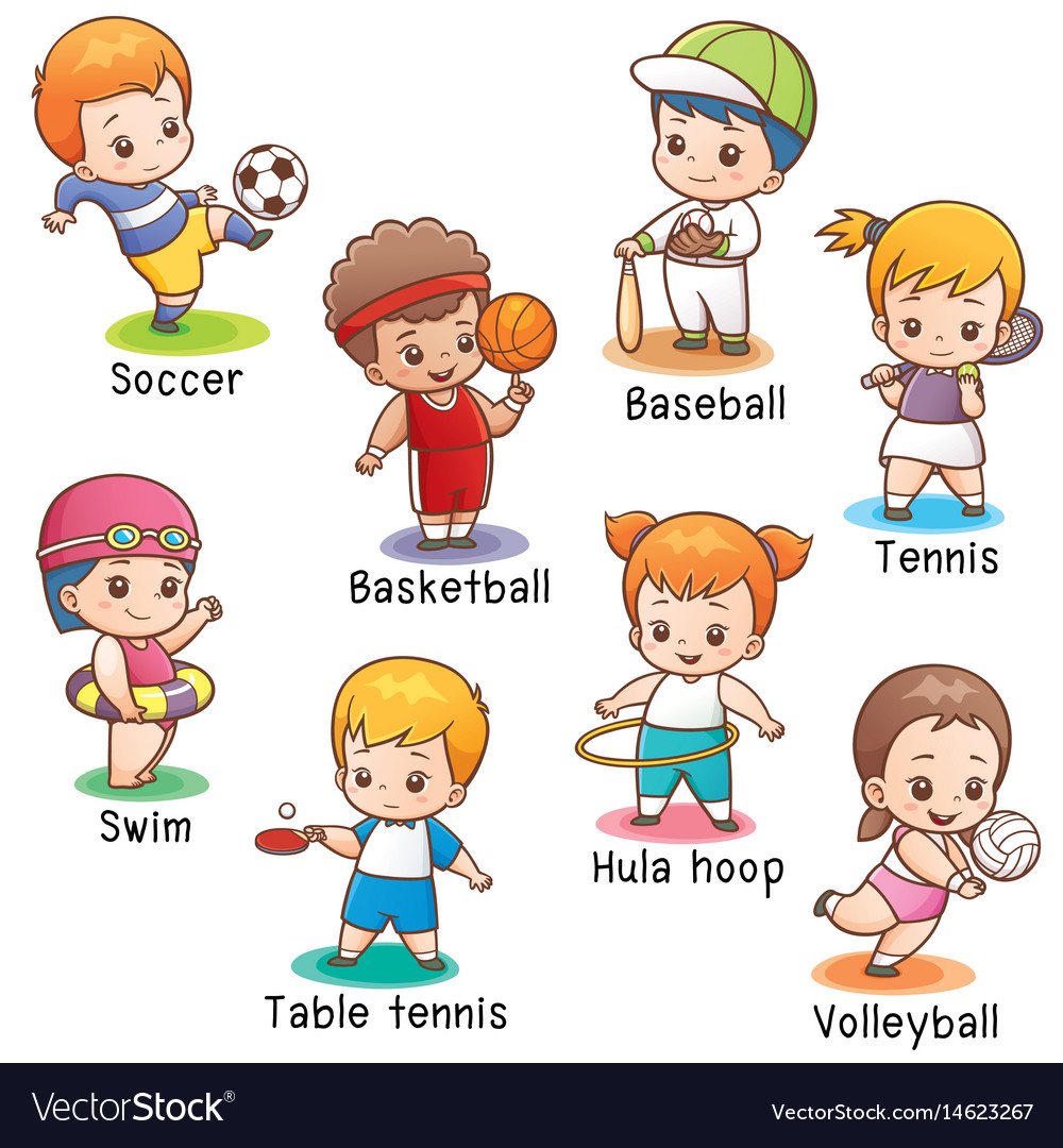 Vocabulary sport character Royalty Free Vector Image