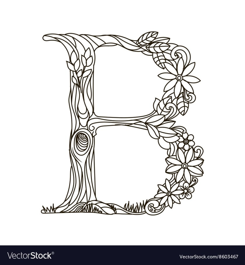 letter b coloring book for adults royalty free vector image