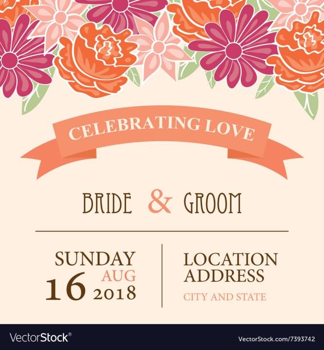 Wedding Invitation Card With Fl Background