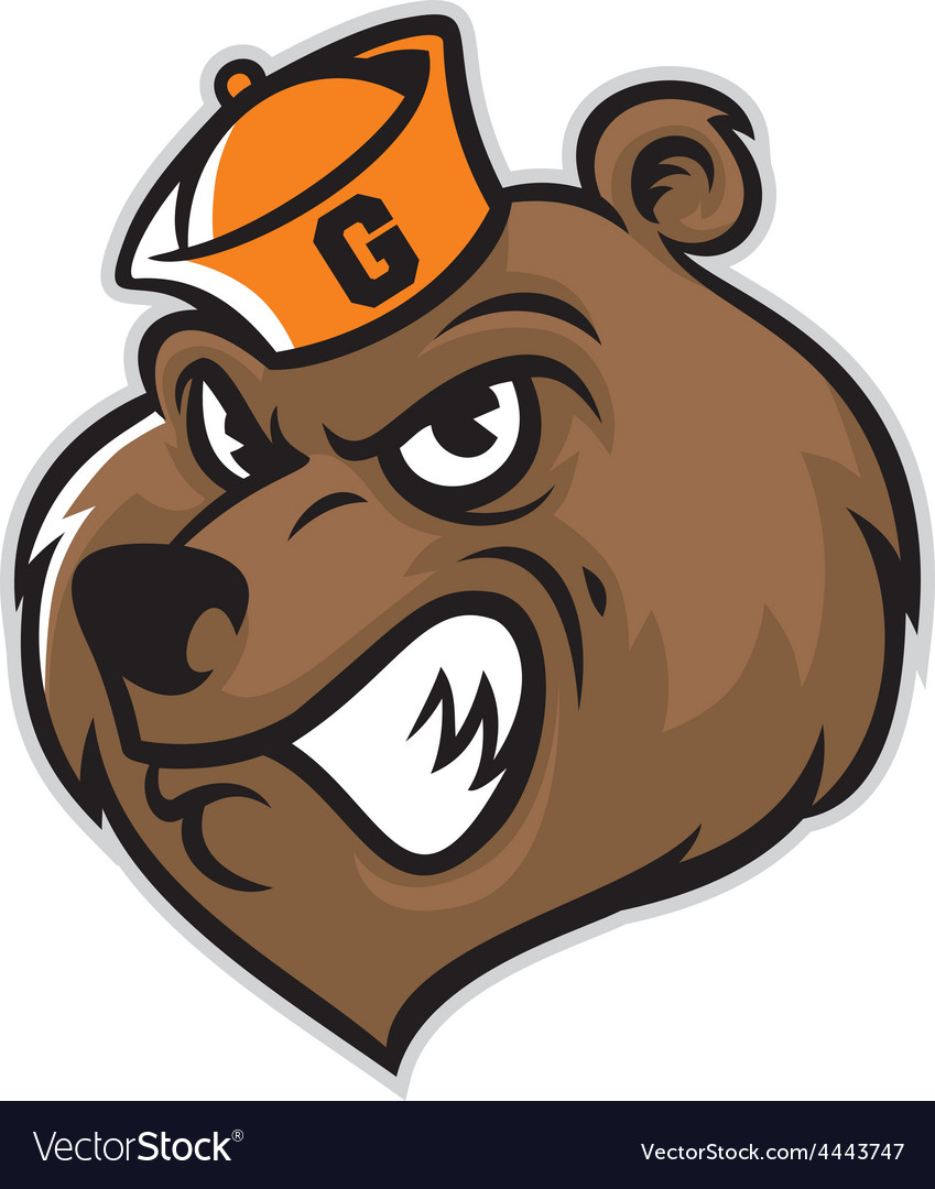 hight resolution of grizzly bear head mascot vector image
